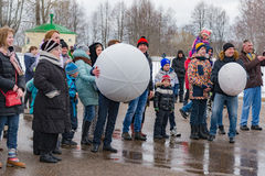 The celebration of Shrovetide in Borodino Museum on March 13, 2016 Royalty Free Stock Photo