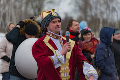 The celebration of Shrovetide in Borodino Museum on March 13, 2016 Stock Image