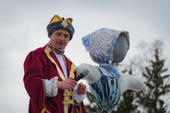 The celebration of Shrovetide in Borodino Museum on March 13, 2016 Royalty Free Stock Images