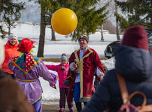 The celebration of Shrovetide in Borodino Museum on March 13, 2016 Royalty Free Stock Photos