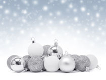 Celebration silver christmas ball on sparkle snow background. Celebration silver christmas ball for decoration on sparkle snow background royalty free stock images