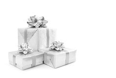 Celebration silver gift box isolated on white background Royalty Free Stock Images