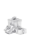 Celebration silver gift boxes isolated on white background. Celebration silver gift boxes for decoration isolated on white background Royalty Free Stock Images