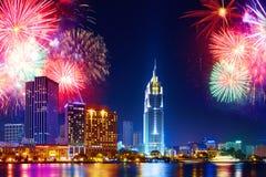 Celebration. Skyline fireworks in city. Cityscape, urban landsca Royalty Free Stock Photography