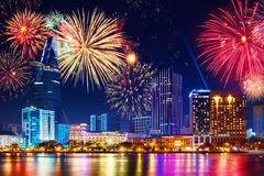 Celebration. Skyline fireworks in city. Cityscape, urban landsca stock image