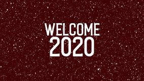 2020 celebration with snowflakes. Animated text of `WELCOME 2020`. Christmas background stock footage
