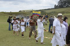 The celebration of the solstice, holiday Inti Raymi. Indian people from Andes in traditional costumes Stock Photography