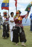 The celebration of the solstice, holiday Inti Raymi. Indian people from Andes in traditional costumes Royalty Free Stock Images