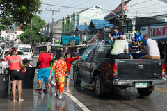 Celebration of Songkran Festival, the Thai New Year on Phuket Stock Photography