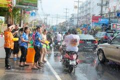 Celebration of Songkran Festival, the Thai New Year on Phuket. Phuket, Thailand - April 13, 2014: Tourist and residents celebrate Songkran Festival, the Thai New Royalty Free Stock Photo