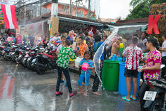Celebration of Songkran Festival, the Thai New Year on Phuket. Phuket, Thailand - April 13, 2014: Tourist and residents celebrate Songkran Festival, the Thai New stock photo
