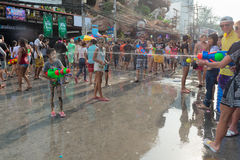 Celebration of Songkran Festival, the Thai New Year on Phuket Royalty Free Stock Photography