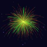 Golden, red, green fireworks holidays background. Celebration sparkling vibrant vector golden, red, green fireworks over night sky. 4th of July Independence Day Stock Photography