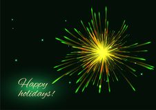Yellow green vector fireworks greeting background, copy space. Celebration sparkling yellow green vector fireworks greeting holidays background, copy space Royalty Free Stock Photography