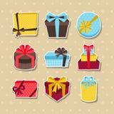 Celebration sticker icon set of colorful gift Stock Image