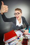Cheerful office girl giving positive gesture stock image