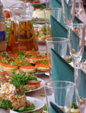 Celebration table. A close-up of banquet - celebration table with many foods, shallow DOF Stock Images