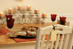 Celebration table set with chair and blank label Stock Photography