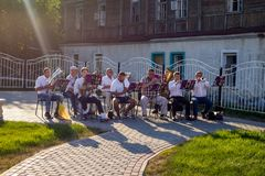 Borovsk, Russia - August 18, 2018: Performance of a brass band on the royalty free stock images