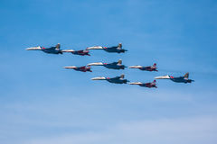 Celebration of the 68th anniversary of the Victory Day (WWII). Flight of aircraft over the city Royalty Free Stock Photography