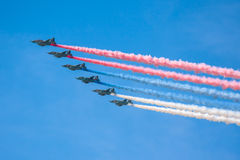 Celebration of the 68th anniversary of the Victory Day (WWII). Flight of aircraft over the city Stock Photo