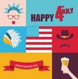 Celebration of 4th of July. hipster characters Royalty Free Stock Images
