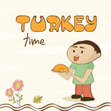 Celebration of thanksgiving day with stylish text and food. Stock Photography