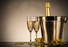 Celebration theme with champagne still life Royalty Free Stock Photos