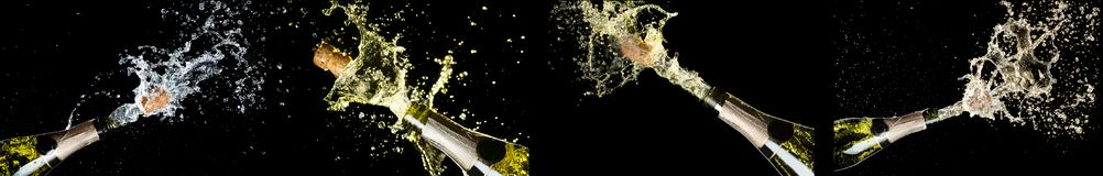 Celebration theme with explosion of splashing champagne sparkling wine bottles on black background. Anniversary, New Year, Christm. As Holiday mockup. Collage royalty free stock photography