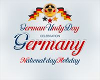 Celebration of third of October, German Unity Day, celebration. Holiday design, background with handwriting, 3d texts and national flag colors for third of royalty free illustration