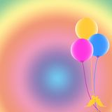 Celebration. Three balloons on pastel colors background Royalty Free Stock Photo