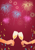 Celebration toast. With champagne against the background with beautiful fireworks Royalty Free Stock Photo