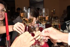 Celebration with toast glass of wine royalty free stock photography