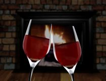 Celebration toast near fireplace Stock Photo