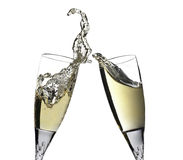 Celebration toast with pair of champagne flutes Royalty Free Stock Images