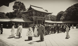 Celebration of a traditional Japanese wedding. Royalty Free Stock Photography