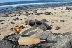 Celebration With Two Glasses Of Red Wine On The Nice Tropical Beach Royalty Free Stock Photos
