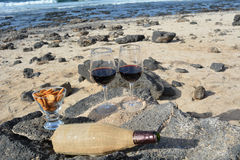Celebration With Two Glasses Of Red Wine On The Nice Tropical Beach Stock Image