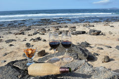 Celebration With Two Glasses Of Red Wine On The Nice Tropical Beach Royalty Free Stock Images