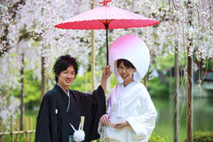Celebration of a typical wedding in Japan Stock Photos