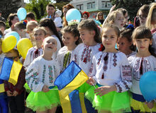 Celebration of Ukrainian Embroidery Day_8. Chortkiv - Ternopil - Ukraine - May 18, 2017. Celebrations on the occasion of the Day of Ukrainian embroidery in stock image