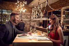 Celebration of Valentine`s day in restaurant Stock Photo