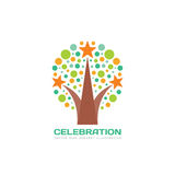 Celebration - vector logo template concept illustration in flat style. Abstract positive tree creative sign. Firework symbol. Design element Stock Photo