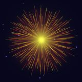 Yellow fireworks Independence Day background. Celebration vector yellow golden fireworks over night sky. 4th of July Independence Day, New Year holidays vector illustration