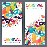 Celebration vertical banners with carnival icons. Celebration seamless pattern with carnival icons and objects Royalty Free Stock Images