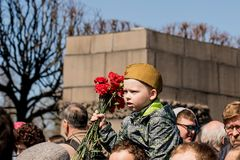 Victory day holiday may 9 at the memorial in St. Petersburg. The celebration of victory Day on may 9 at piskaryovsky memorial in Saint Petersburg, Russian Stock Photo