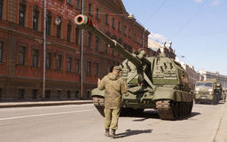 Celebration of Victory Day: Self-propelled gun Royalty Free Stock Photography