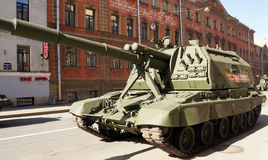 Celebration of Victory Day: Self-propelled gun Stock Photography