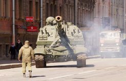 Celebration of Victory Day: Self-propelled gun Stock Photo