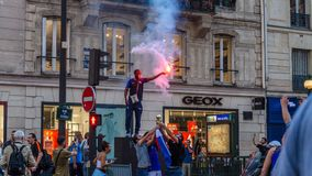 Celebration of the victory of France in the world cup 2018. They are champions. stock photos
